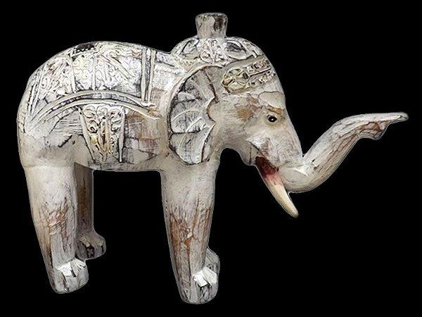 Escultura de Elefante em Madeira Pátina 25x33cm - Bali