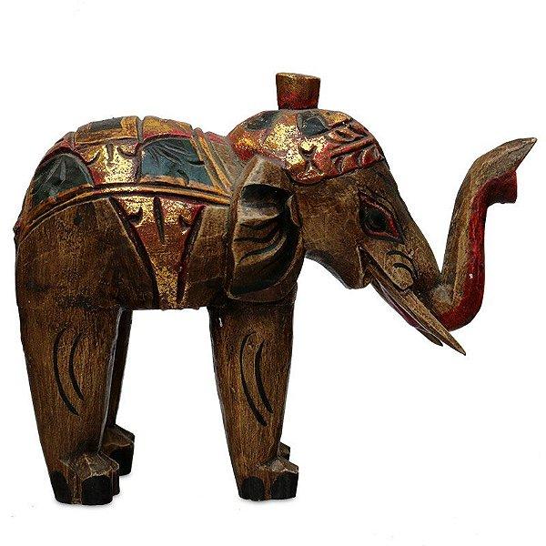 Escultura de Elefante em Madeira - Arte Bali