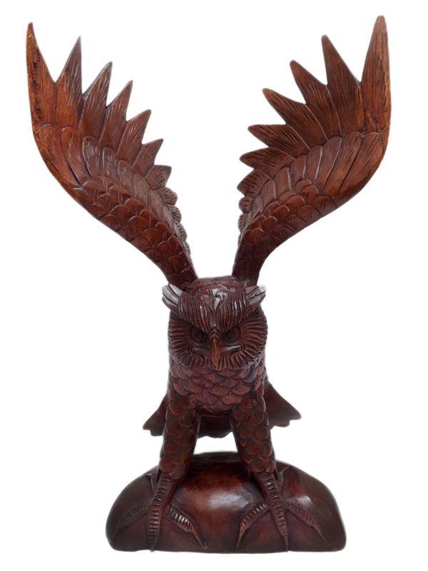 Escultura Coruja em Madeira 37x24cm