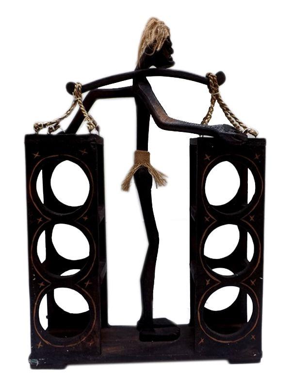 Porta Vinhos Primitivo em Madeira 60cm - Arte Bali