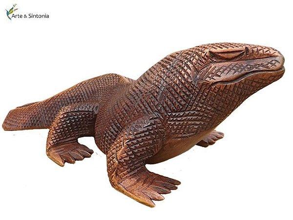 Escultura Artesanal em madeira - Dragão de Komodo Bali 30cm