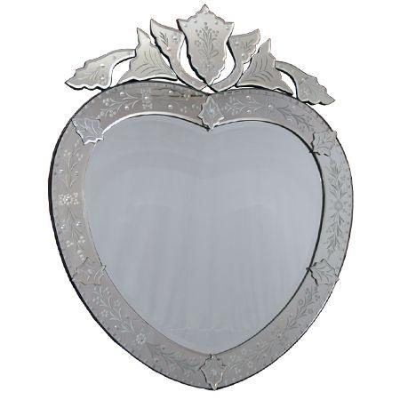 """Espelho Decorativo """"Coração"""" 97cm - Estilo Veneziano"""