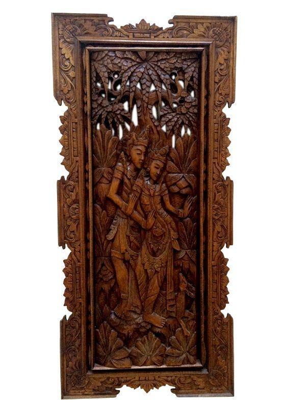 Placa Hindu em Madeira Entalhada - Rama e Sita
