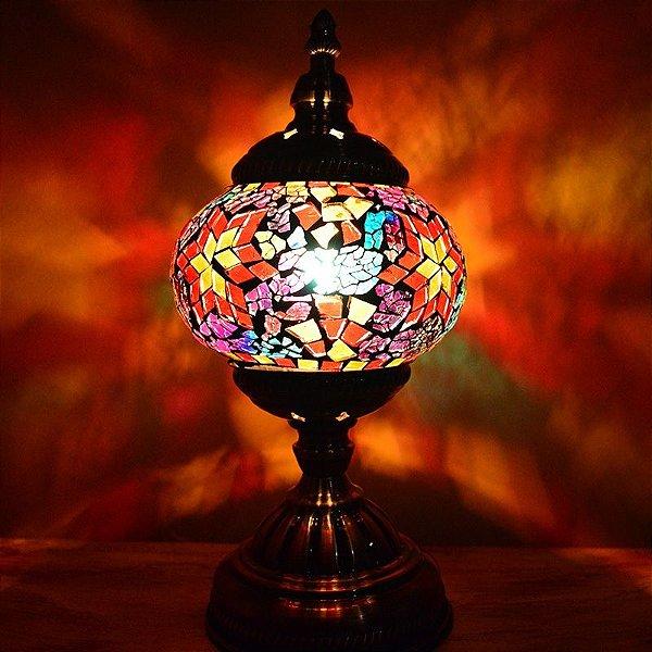 Abajur Mosaico Colorido - Estilo Turco