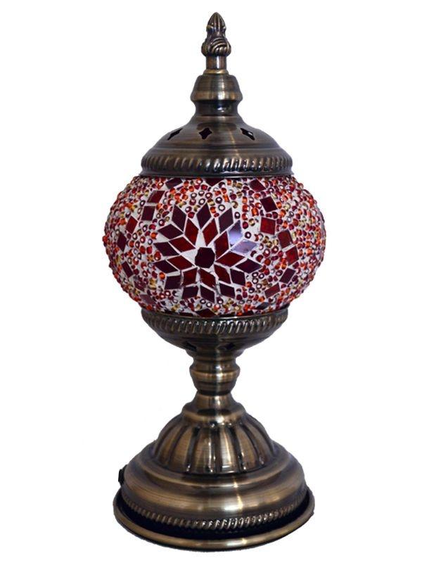 Abajur em Mosaico Vermelho 30cm - Estilo Turco
