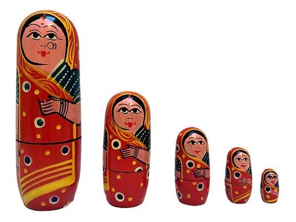 Conjunto de Bonecas Matrioskas Indianas 16cm