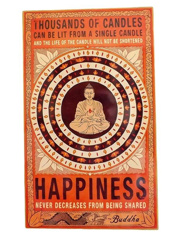 "Placa Decorativa Budista ""HAPPINESS'' - Arte Buda"