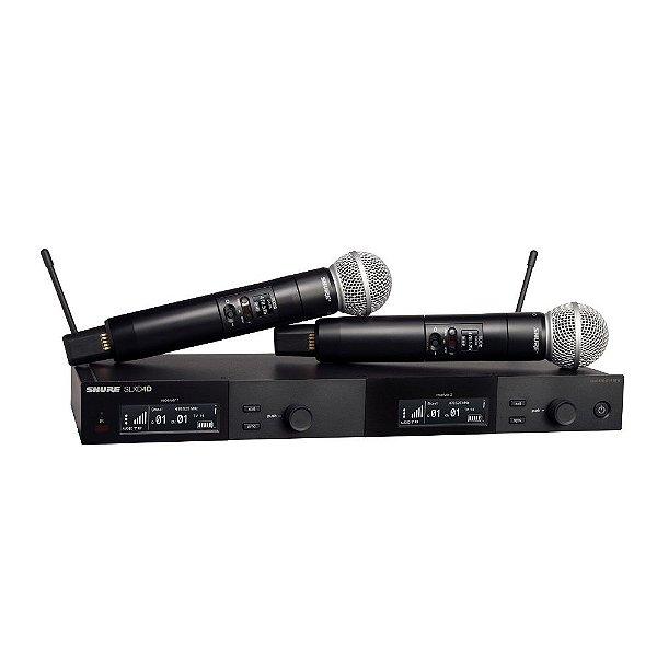 Sistema sem fio duplo com 2 microfones de mao SLXD2/SM58 - SLXD24D/SM58-G58 - Shure