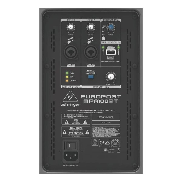Caixa Portatil C/Bateria E Mic. S/Fio Mpa100bt - BEHRINGER