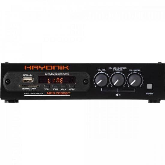 Módulo Pré-Amplificador MP3 2000BT c/ Gongo/FM/USB/Bluetooth HAYONIK