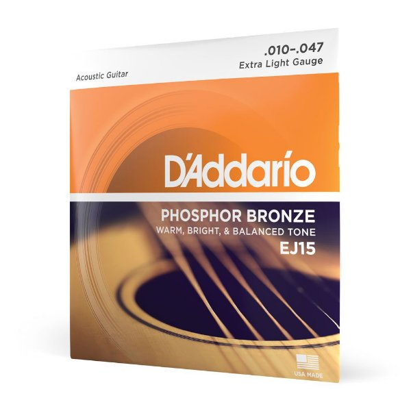 Encordoamento Violão Aço .010 D'Addario Phosphor Bronze EJ15