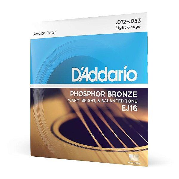 Encordoamento Violão Aço .012 D'Addario Phosphor Bronze EJ16