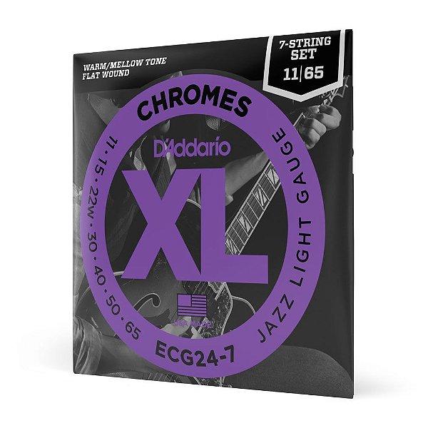 Encordoamento Guitarra 7C \u002e011 D\u0027Addario XL Chromes ECG24\u002d7