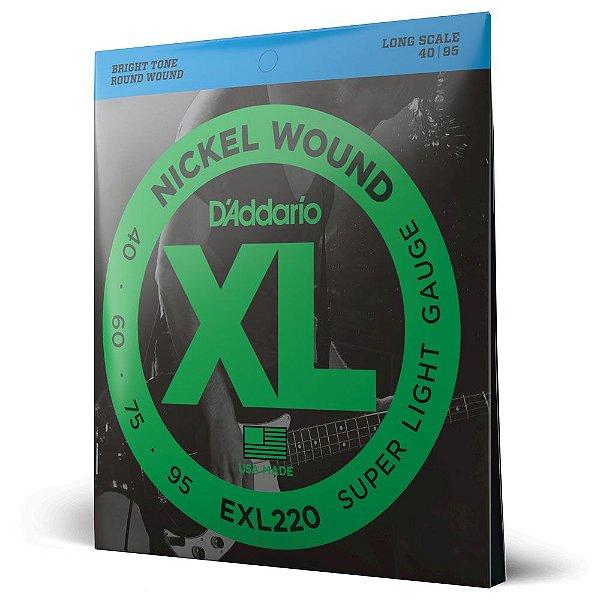 Encordoamento Baixo 4C .040 D'Addario XL Nickel Wound EXL220