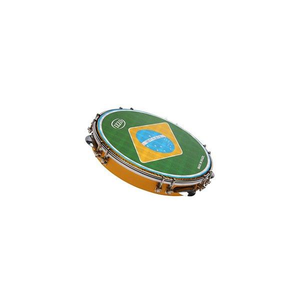 Pandeiro Profissional Special 10 Pol Cores Sortidas C/pele Bandeira Brasil C/capa Cx C/6 Izzo