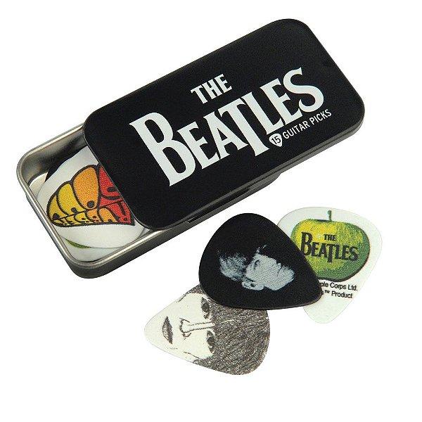 Palheta Para Guitarra The Beatles Com Lata Especial Logo \u0028Pacote Com 15 Palhetas Variadas\u0029 D\u0027Addario 1CAB