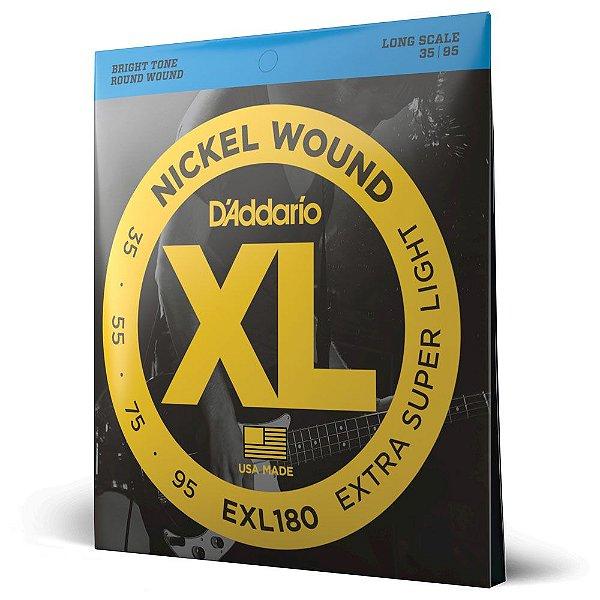 Encordoamento Baixo 4C .035 D'Addario XL Nickel Wound EXL180