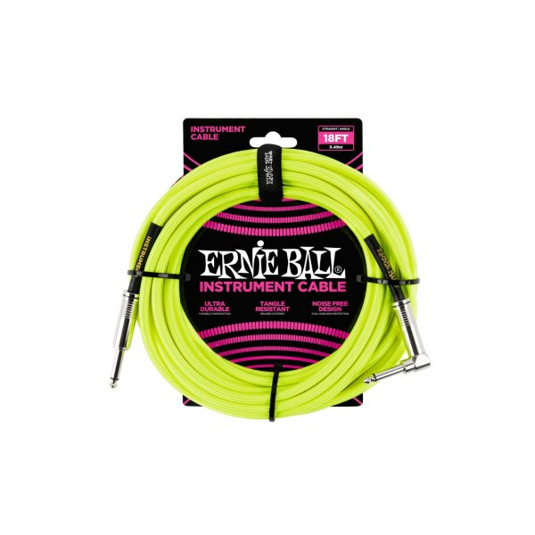 Cabo P/ Instrumento 18' (5,49 Metros) Plug Reto/l TranÇado Neon Amarelo P06085 Ernie Ball