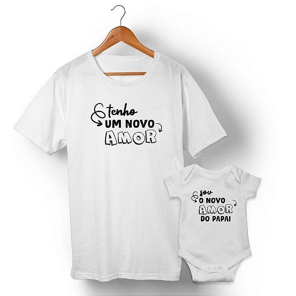 Kit Meu Novo Amor Branco Camiseta Unissex e Body Infantil