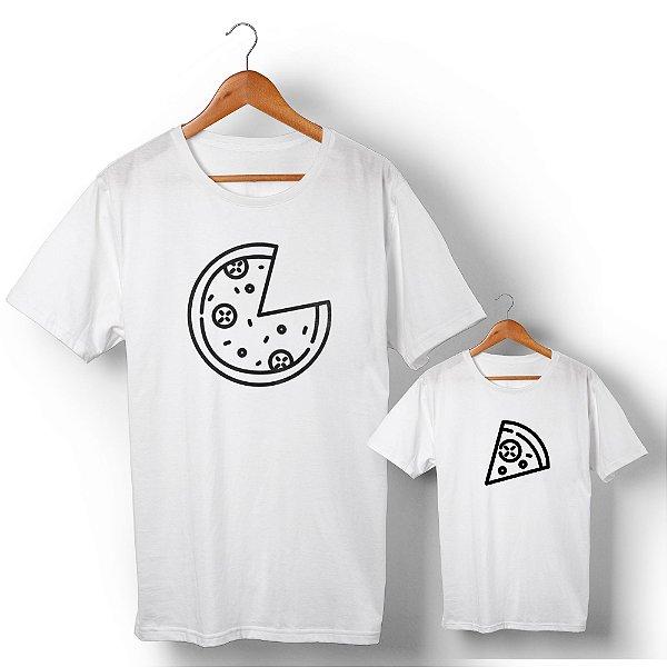 Kit Pizza e Pedaço de Pizza Branco Camiseta Unissex e Camisetinha Infantil