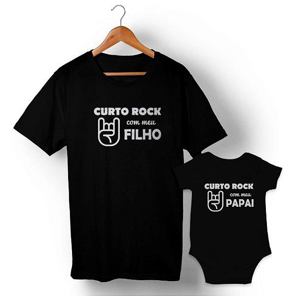 Kit Curto Rock com Meu Filho Preto Camiseta Unissex e Body Infantil