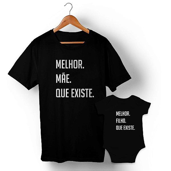 Kit Melhor Mãe Melhor Filho Preto Camiseta Unissex e Body Infantil