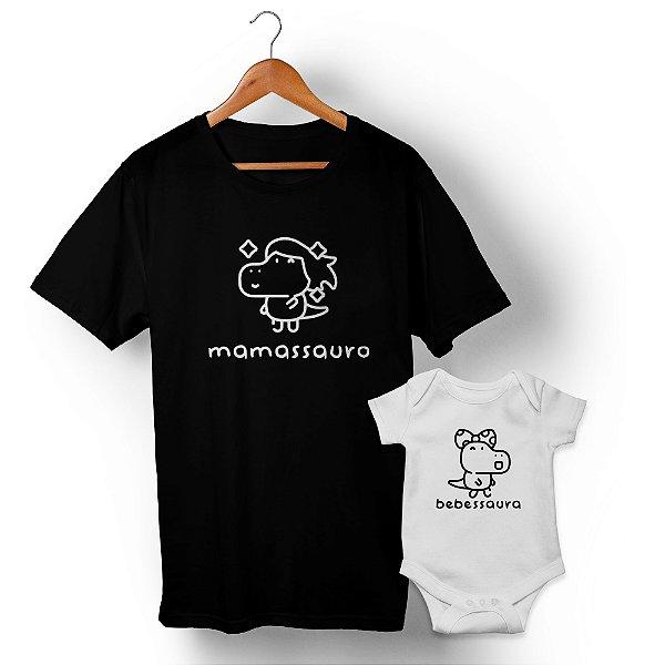 Kit Família Sauro Mãe e Filha Preto e Branco Camiseta Unissex e Body Infantil
