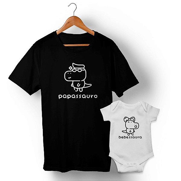 Kit Família Sauro Pai e Filha Preto e Branco Camiseta Unissex e Body Infantil