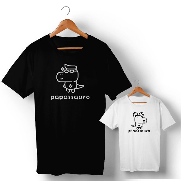 Kit Família Sauro Pai e Filha Preto e Branco Camiseta Unissex e Camisetinha Infantil