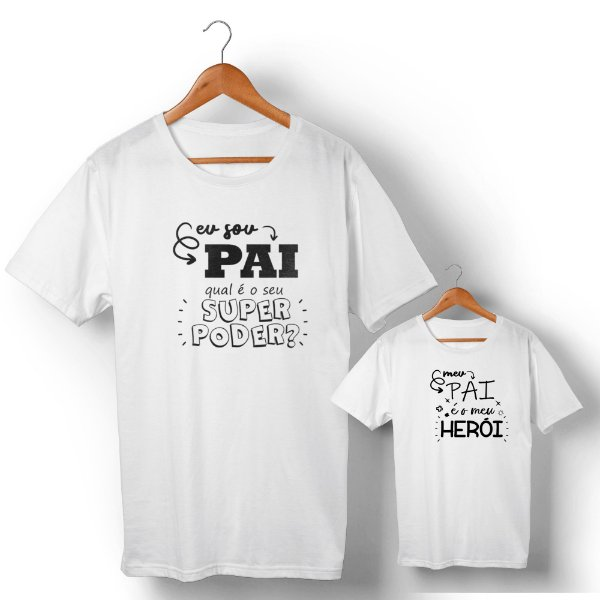 Kit Pai Herói Branco Camiseta Unissex e Camisetinha Infantil