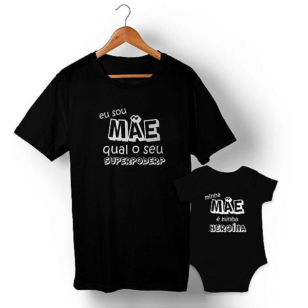 Kit Mãe Heroína Preto Camiseta Unissex e Body Infantil