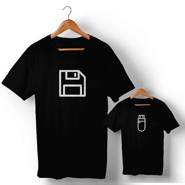 Kit Disquete Interface Camiseta Preto Camiseta Unissex e Camisetinha Infantil