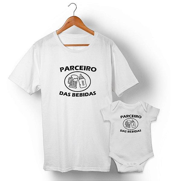 Kit Parceiro de Bebidas Branco Camiseta Unissex e Body Infantil
