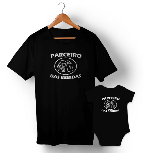 Kit Parceiro de Bebidas Preto Camiseta Unissex e Body Infantil