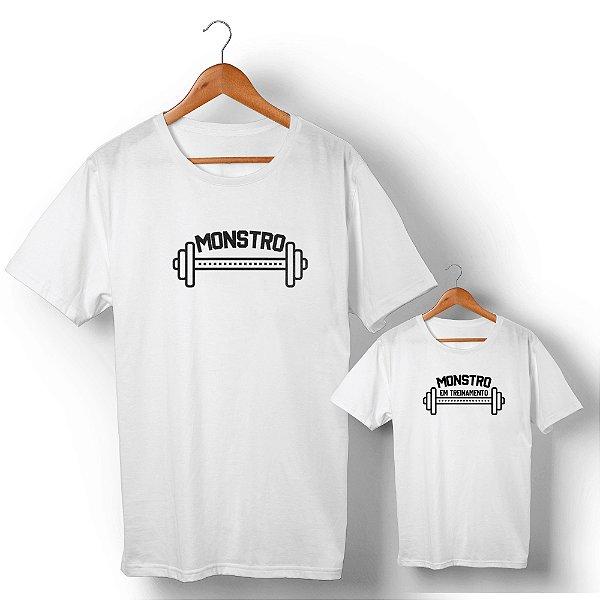 Kit Monstro e Monstro em Treinamento Branco Camiseta Unissex e Camisetinha Infantil