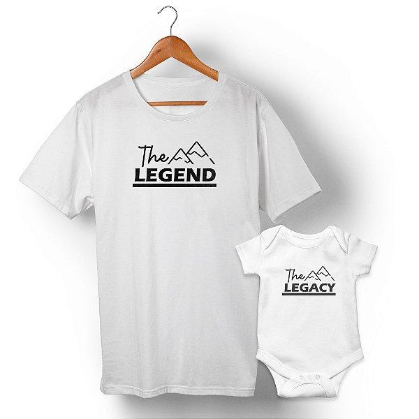 Kit Legend Legacy Montanha Branco Camiseta Unissex e Body Infantil