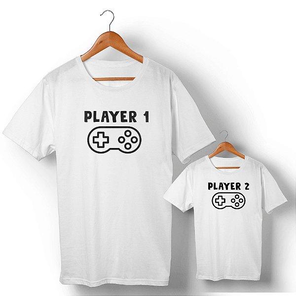 Kit Player 1 Player 2 Branco Camiseta Unissex e Camisetinha Infantil