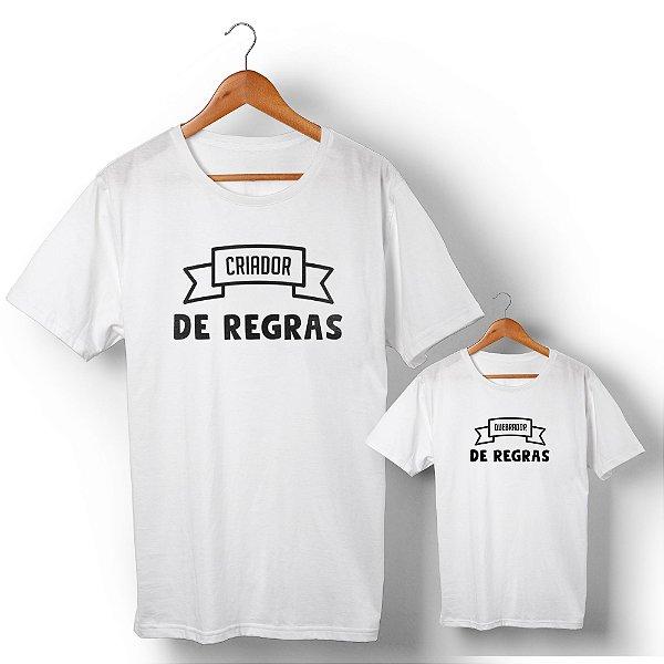 Kit Criador e Quebrador de Regras Branco Camiseta Unissex e Camisetinha Infantil