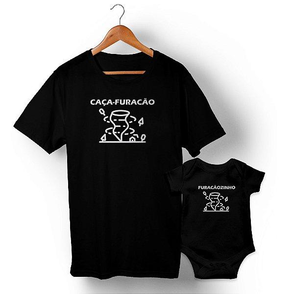 Kit Caça-Furacão Furacãozinho Preto Camiseta Unissex e Body Infantil