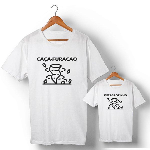 Kit Caça-Furacão Furacãozinho Branco Camiseta Unissex e Camisetinha Infantil