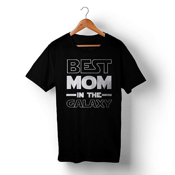 Camiseta Unissex Best Mom in the Galaxy Preta