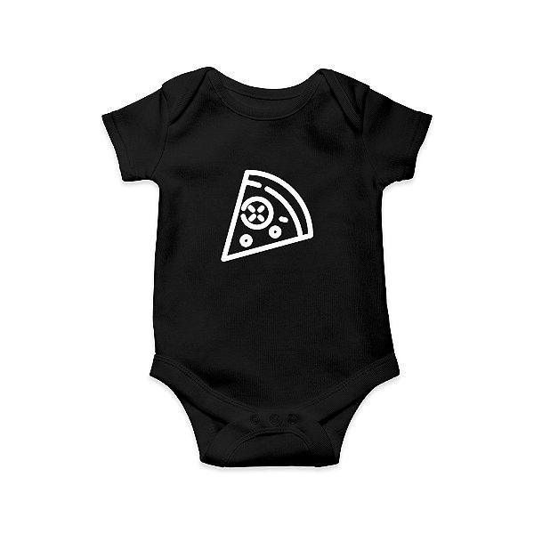 Body ou Camisetinha Infantil Pedaço de Pizza Preto