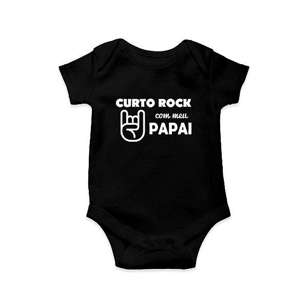 Body ou Camisetinha Infantil Curto Rock com Meu Papai Preto