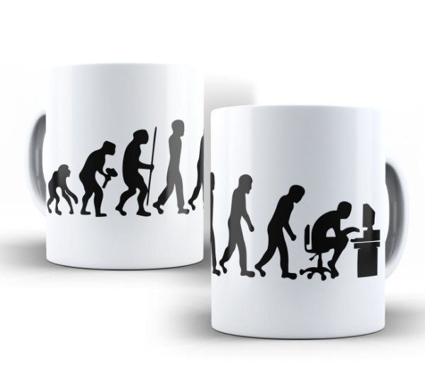 Caneca Evolução Geek Branca