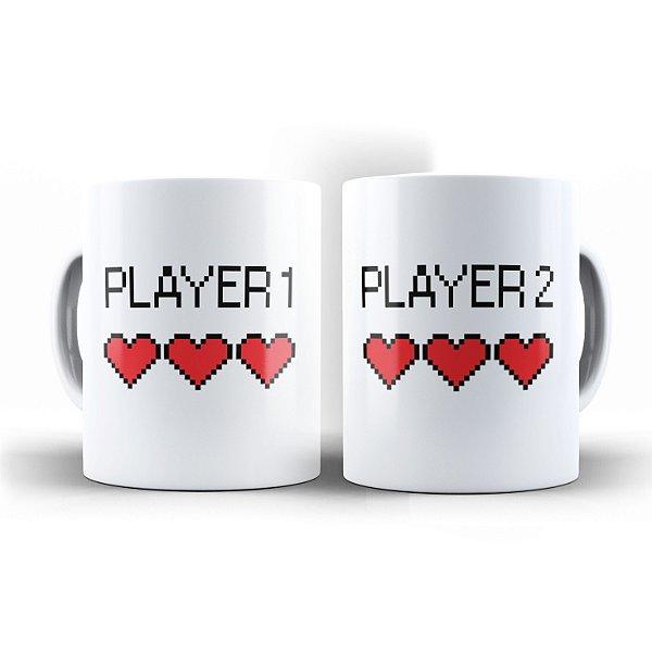 Par de Canecas Player 1 Player 2