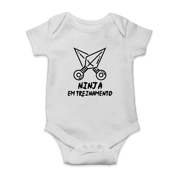 Body ou Camisetinha Infantil Ninja em Treinamento Branco