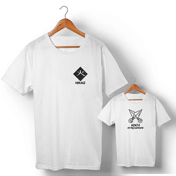 Kit Mestre Ninja e Ninja em Treinamento Branco Camiseta Unissex e Camisetinha Infantil