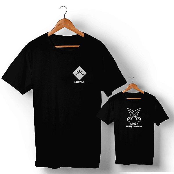 Kit Mestre Ninja e Ninja em Treinamento Preto Camiseta Unissex e Camisetinha Infantil