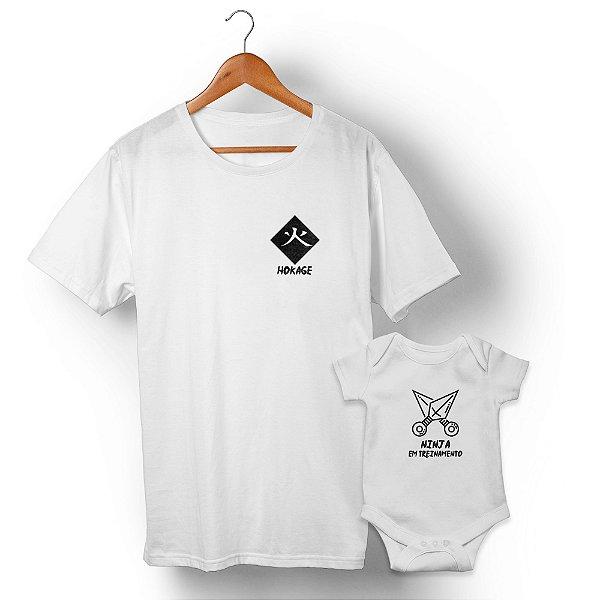 Kit Mestre Ninja e Ninja em Treinamento Branco Camiseta Unissex e Body Infantil