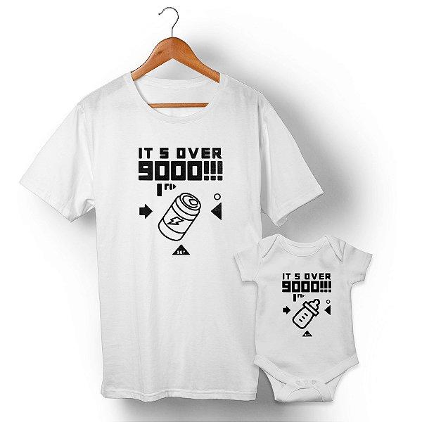 Kit Over 9000 Branco Camiseta Unissex e Body Infantil